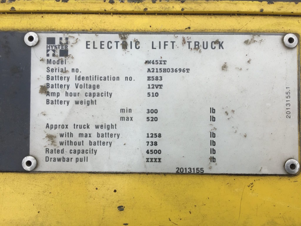 Hyster W45xt Electric Lift Truck Ccr Industrial Sales 60 Wiring Diagram