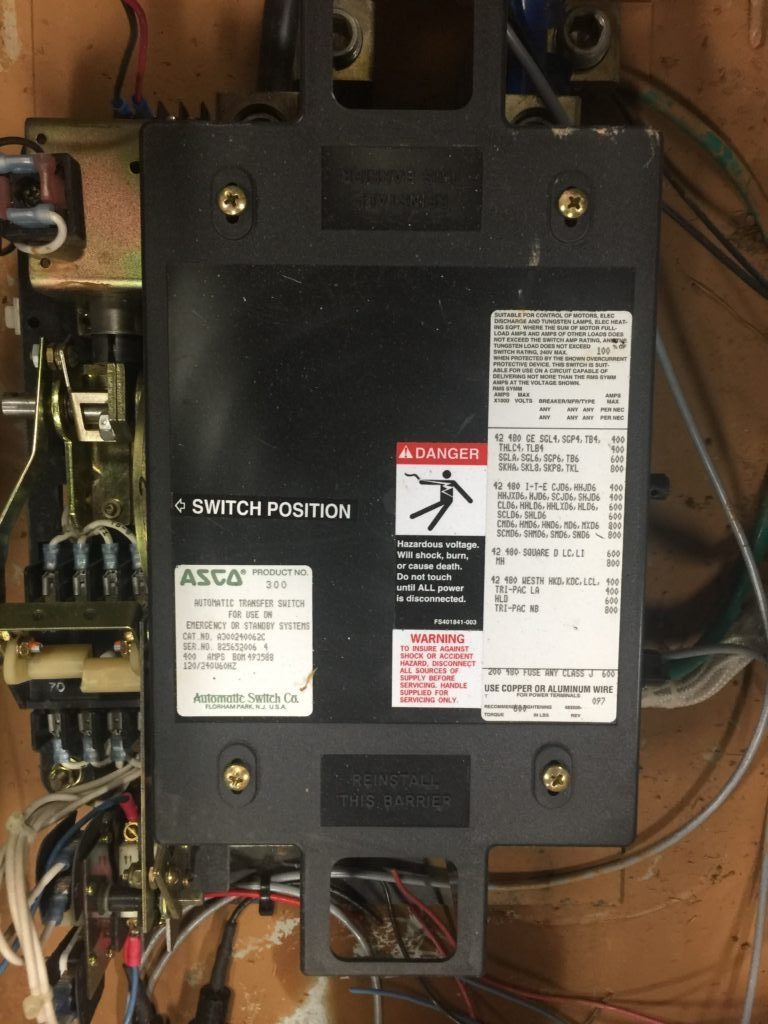 Asco Automatic Transfer Switch A300240062c Ccr Industrial Sales Aluminum Wiring Hazards