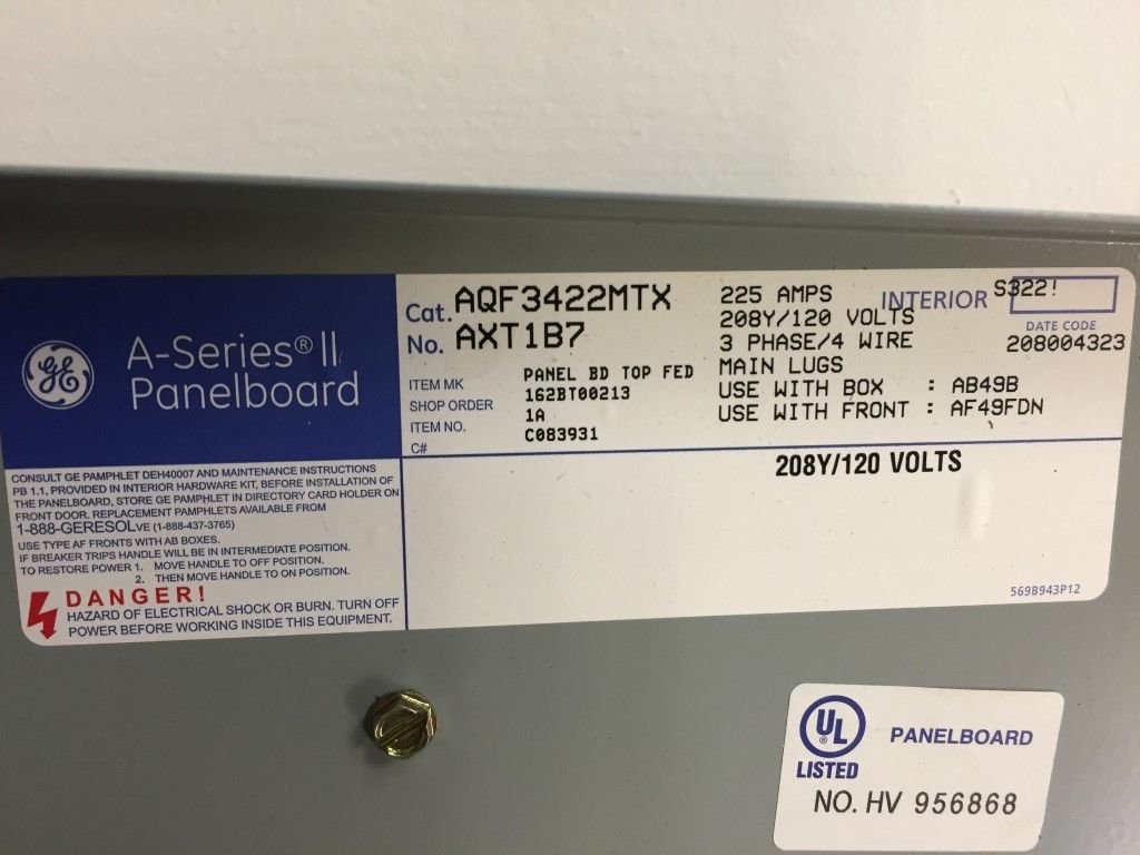 Lot of 3 Electrical Panel Boards (GE, Siemens) (Square D with Breakers)
