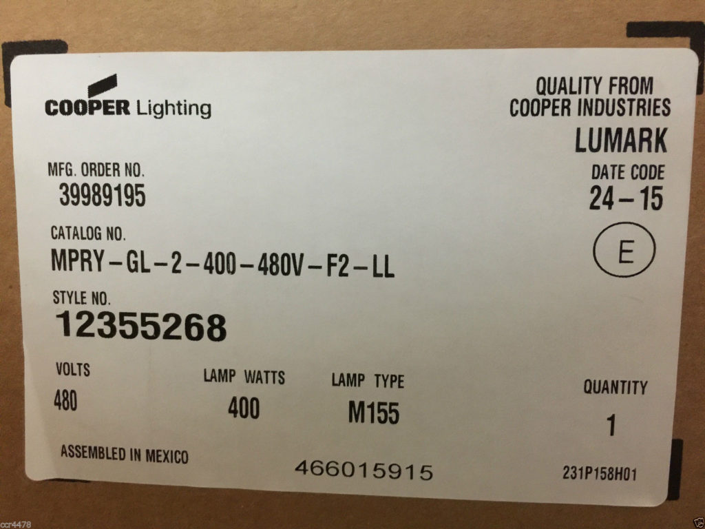 Cooper Lighting ... & Cooper Lighting MPRY-GL-2-400-480V-F2-LL Street Light Pole Mount ...
