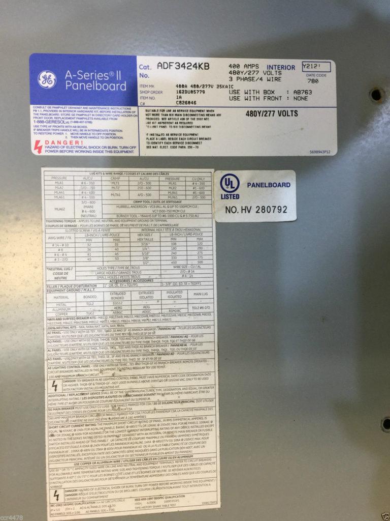 GE A-Series II Panelboard- Cat. No. ADF3424KB - CCR Industrial
