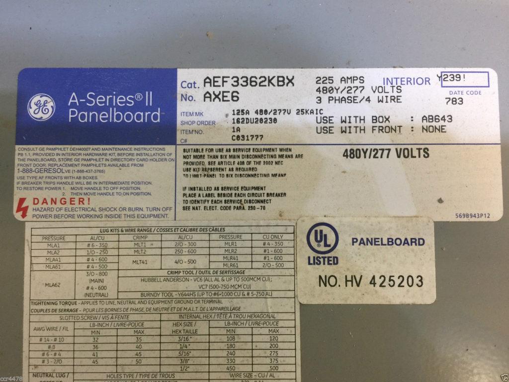 GE A-Series II Panelboard- Cat  No  AEF3362KBX AXE6