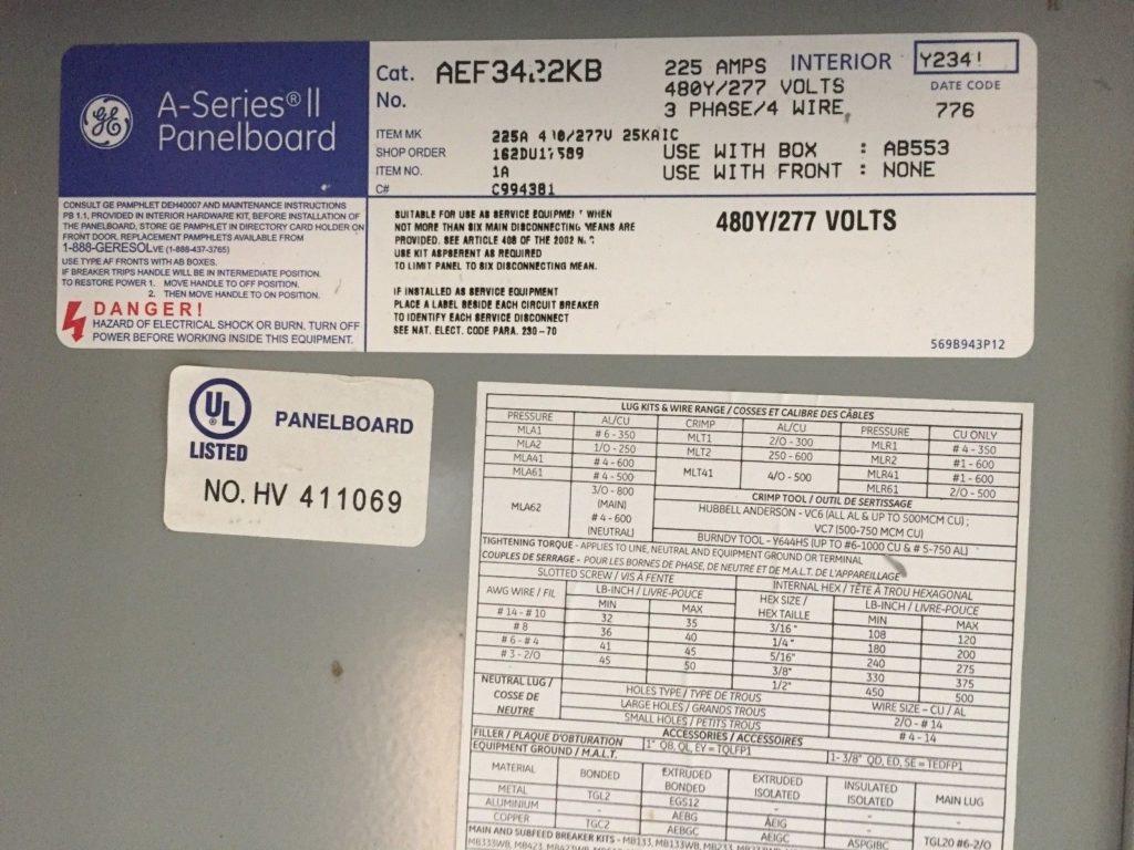 GE AEF3422KBA Series II PanelBoard