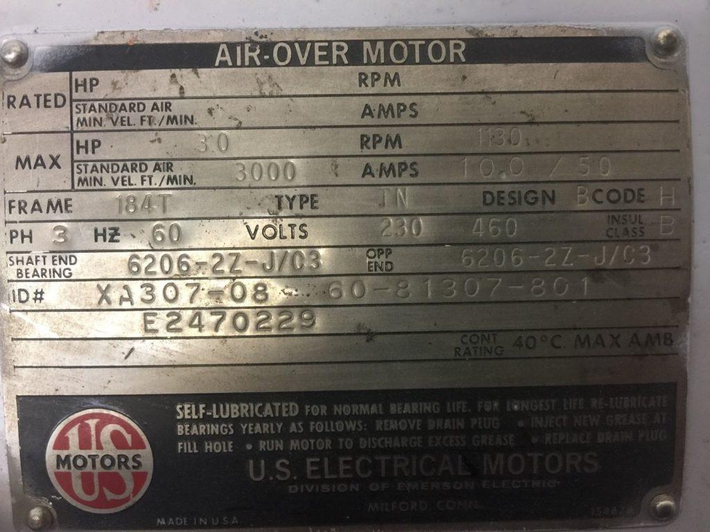 Us motors xa307 08 air over motor 3ph 3hp ccr industrial us motors publicscrutiny Image collections